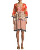 Johnny Was Rayne V-Neck 3/4-Sleeve Printed Crepe Dress