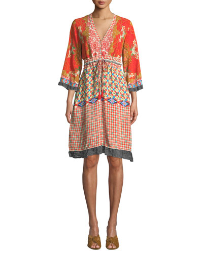 Petite Rayne V-Neck 3/4-Sleeve Printed Crepe Dress w/ Drawstring-Waist