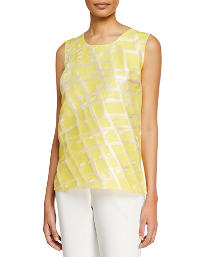 Plus Size Citrus Abstract-Print Tank