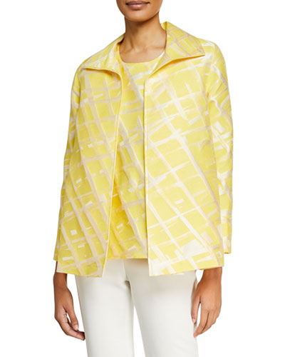 Petite Citrus Abstract-Print Jacquard Jacket