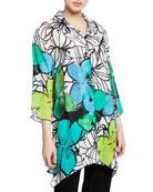 Caroline Rose Butterfly-Print Button-Front 3/4-Sleeve Swing Shirt