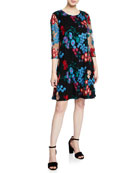 Caroline Rose Fresh Flower Embroidered 3/4-Sleeve Dress