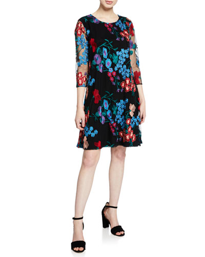 Fresh Flower Embroidered 3/4-Sleeve Dress