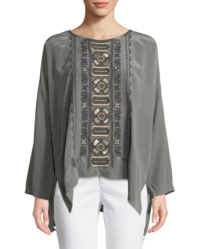 Petite Alka Bateau-Neck Long-Sleeve High-Low Silk Blouse w/ Embroidery