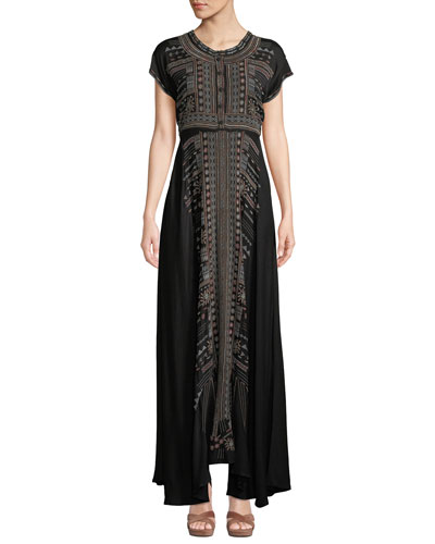 Effy Short-Sleeve Ikat-Embroidered Stretch Challis Maxi Dress