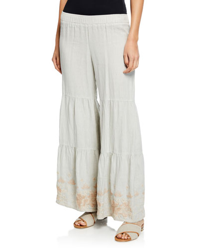 Petite Sienne Wide-Leg Tiered Linen Palazzo Pants w/ Embroidered Hem