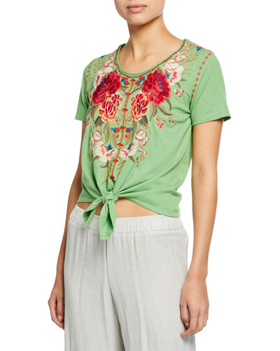 Petite Burke Scoop-Neck Short-Sleeve Knot-Front T-Shirt
