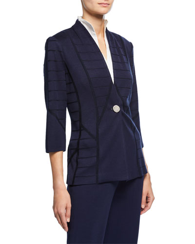 Petite Textured One-Button Jacket