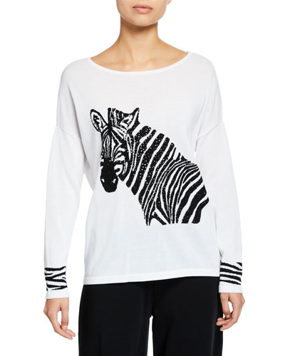 Petite Boat-Neck Sequined Zebra Intarsia Sweater w/ Cuff Detail