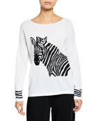Joan Vass Boat-Neck Sequined Zebra Intarsia Sweater w/