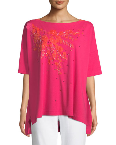 Petite Boat-Neck Short-Sleeve Big Tee w/ Floral Applique & Beading