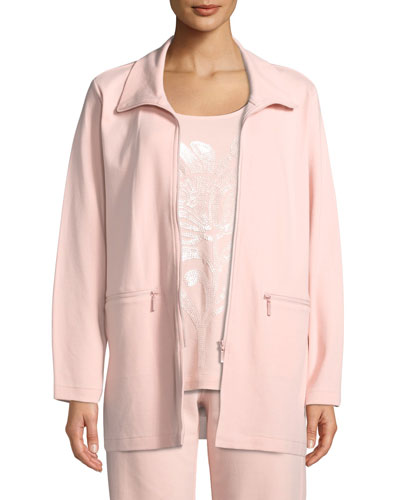 Petite Mock-Neck Long-Sleeve Zip-Front Stretch Interlock Jacket w/ Zip Pockets