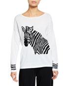 Joan Vass Boat-Neck Sequined Zebra Intarsia Sweater w/