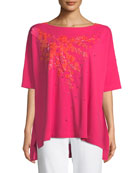 Joan Vass Boat-Neck Short-Sleeve Big Tee w/ Floral