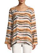 Masai Dale Busy Stripe Shantung Long-Sleeve Top