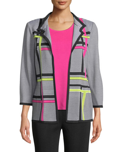 Petite Striped 3/4-Sleeve Hook-Front Graphic Knit Jacket