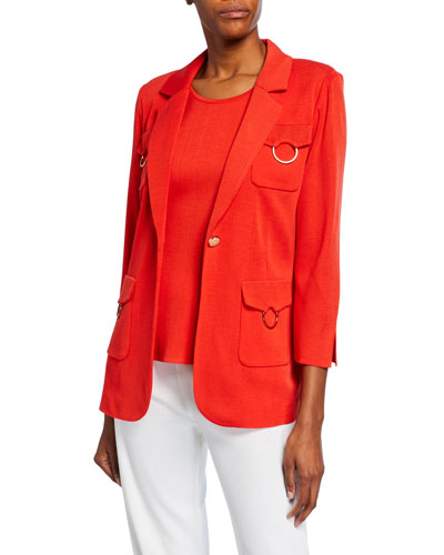 Plus Size 3/4-Sleeve One-Button 4-Pocket Jacket with Golden Ring Detail