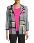 Misook Striped 3/4-Sleeve Hook-Front Graphic Knit Jacket and
