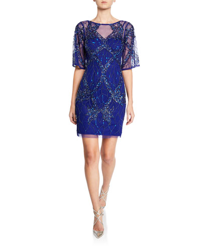 Boat-Neck Half-Sleeve Beaded Cocktail Dress
