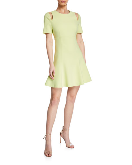 cinq a sept Alyssa Crewneck Short-Sleeve Cutout Dress