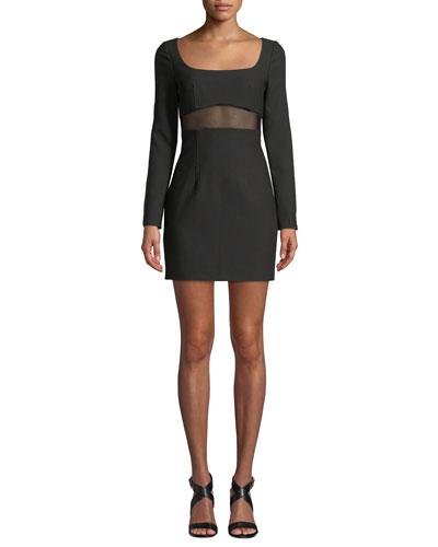Celia Mesh-Panel Long-Sleeve Cocktail Dress