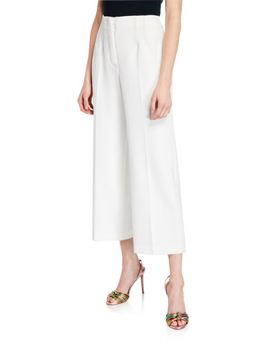 Micah Cropped Button-Fly Culottes