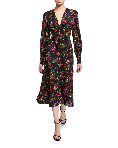 Fitted Floral Dress Neiman Marcus