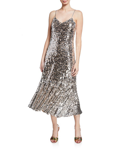 Mykola Sequined Fit-and-Flare Midi Dress