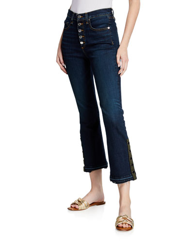 Carolyn Cropped Boot-Cut Jeans with Snap Hem