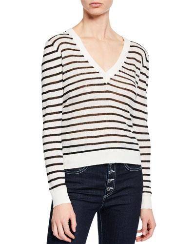 Dean Striped Linen V-Neck Sweater
