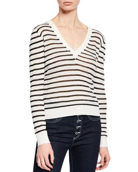 Veronica Beard Jeans Dean Striped Linen V-Neck Sweater