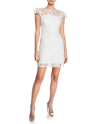 Nickie Embroidered Tulle Cap-Sleeve Mini Cocktail Dress