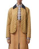 Burberry Button-Front Long-Sleeve Diamond-Quilted Barn Jacket