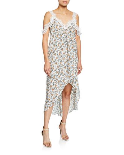 Elixir Cold-Shoulder Floral-Print High-Low Midi Dress