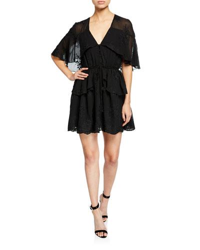 Fascinate V-Neck Cape-Sleeve Embroidered Mini Dress w/ Drawstring-Waist
