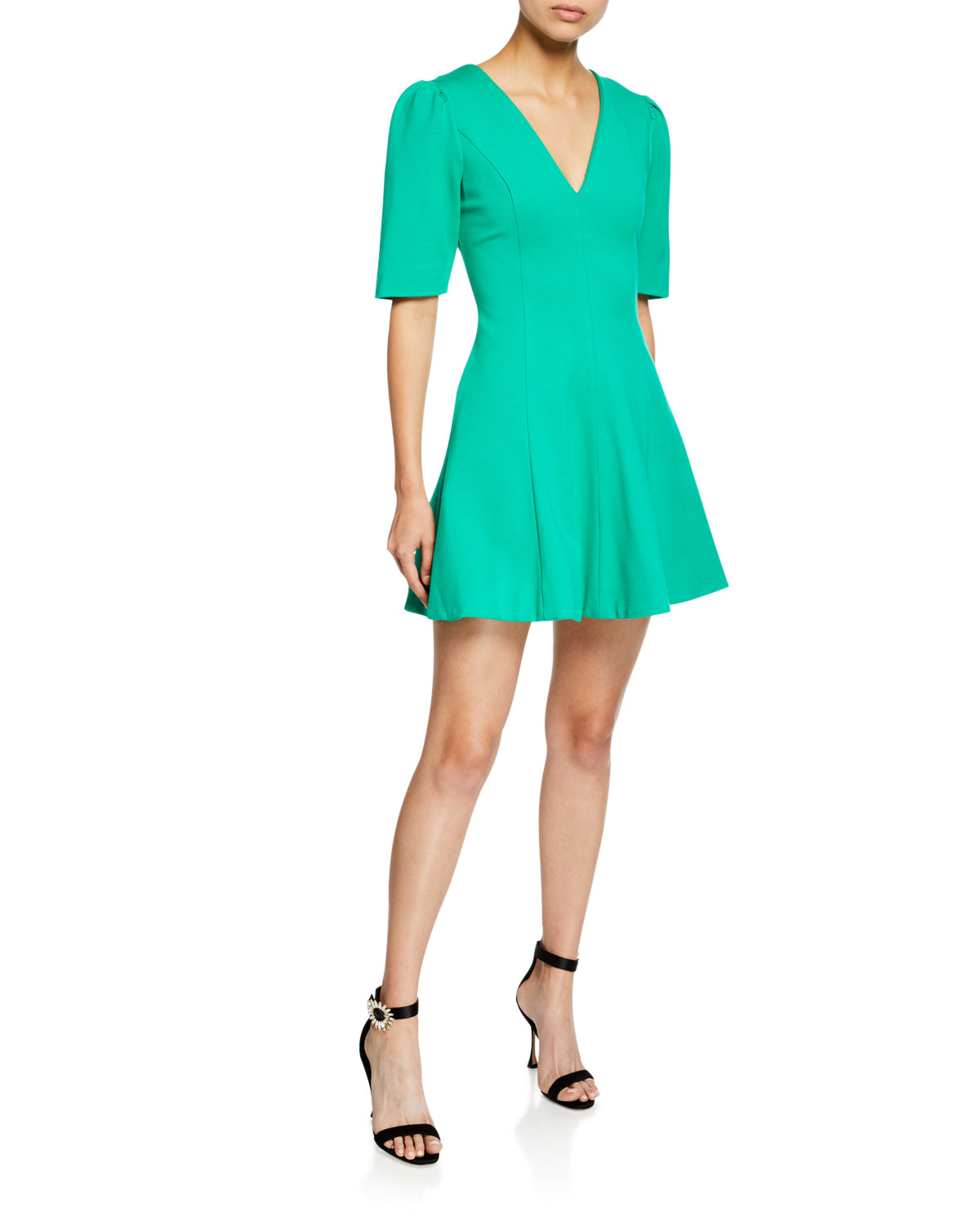 ELLIATT Valley V-Neck Elbow-Sleeve Fit-And-Flare Mini Dress in Green