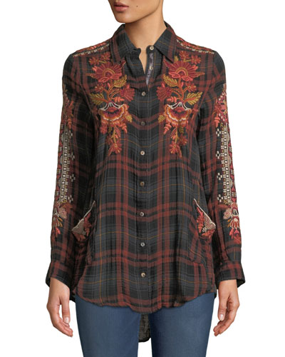 Petite Warner Painters Embroidered Plaid Button-Down Shirt