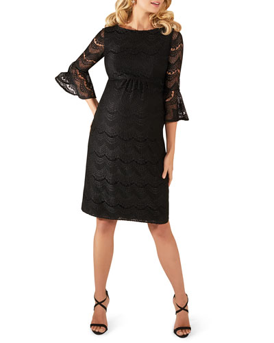 Maternity Jane Fluted-Sleeve Lace Cocktail Dress