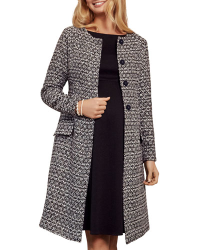 Maternity Verity Collarless Button-Front Boucle Coat