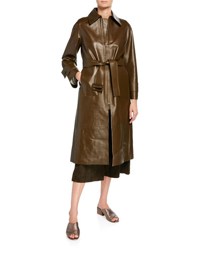 Long Double-Face Leather Trench Coat