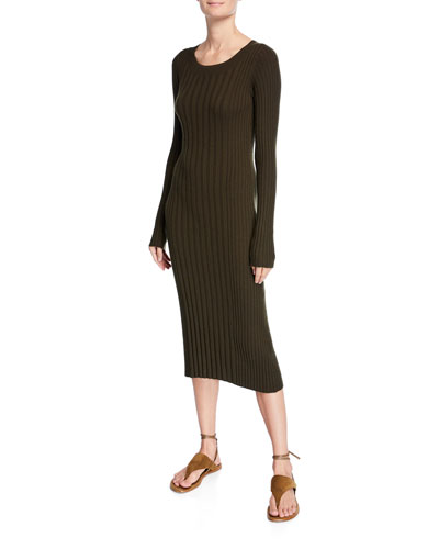 Mixed Rib Scoop-Neck Long-Sleeve Dress