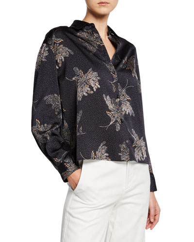 Woodblock Floral Button-Front Blouse