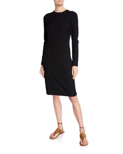 Long-Sleeve Crewneck Pencil Dress