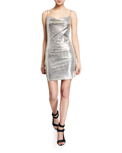 Harmie Metallic Cowl-Neck Mini Cocktail Dress