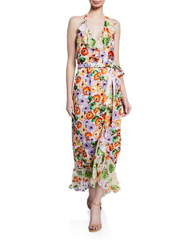 Evelia Floral-Print Asymmetric Ruffle Maxi Dress