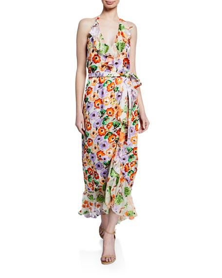 Alice + Olivia Evelia Floral-Print Asymmetric Ruffle Maxi Dress