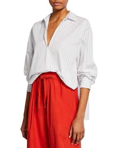b4acd024 Quick Look. Vince · Bar-Stripe V-Neck Long-Sleeve Swing Front Blouse