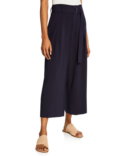Belted Cropped Culotte Pants
