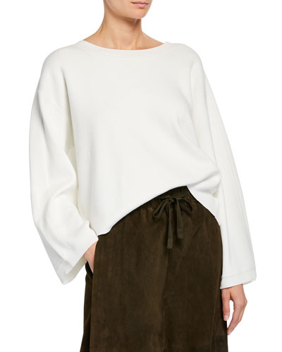Crewneck Long-Sleeve Cropped Cotton Top