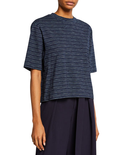 Indigo-Striped Crewneck Wide-Sleeve Cropped Tee